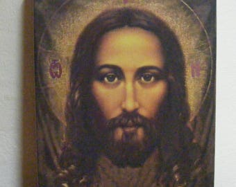 """Icon Face of Jesus Christ from the Shroud of Turi  icon hand painted warm colors directly on the solid wood 13x17x2 см ( 5.2""""x 6.8""""x0.8"""")"""