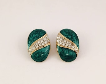 Green and Gold Clip On Earrings