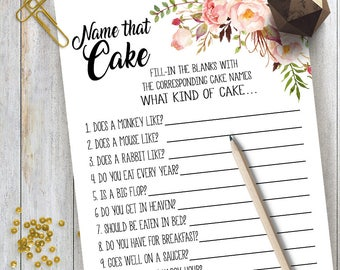 Name that Cake game Bridal Shower game printable Wedding shower game Bachelorette party rustic games Instant download 02 G101