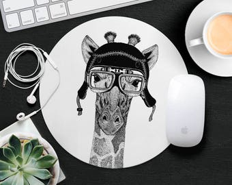 Giraffe Mouse Pad Animal in Glasses Cute Mouse Mat Funny Mouse Pad Round MousePad Hipster Mouse Mat Desk Accessories Animal Lover Gift iDea