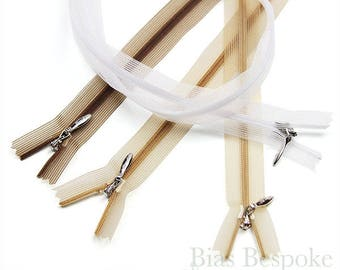 Sets of 12 Transparent Invisible Zippers, 6 Lengths Available, Bias Bespoke Brand