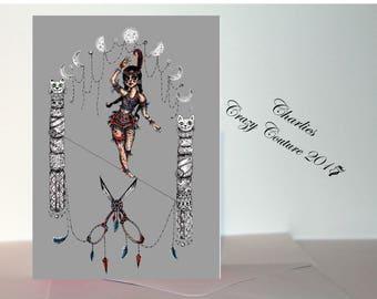 Victorian Circus tight rope greetings card A6