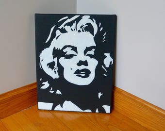 Marilyn Monroe Painting - Marilyn Monroe Silhouette - Gift for Her - Girly Painting - Dorm Decor - Canvas Painting - Home Decor