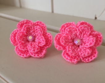 Coral Flower Earrings, Crochet Flower Earrings, Coral Earrings, flower studs, Handmade Earrings, Earrings, Coral Flower, Retro Earrings,