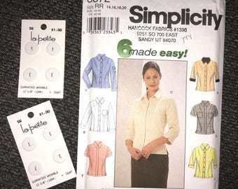 New Uncut Simplicity 8872 Pattern Women Misses Shirt Business Top Size RR 14-16-18-20 + 8 New White Buttons 1999