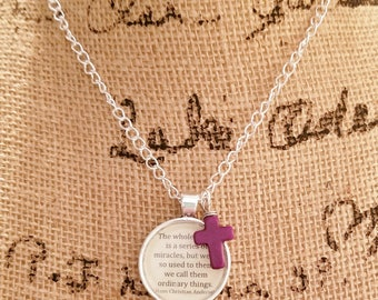 Book Nook, Book Quote Necklace, Quote Necklace, Hans Christian Andersen,  World of Miracles Quote, Literature Necklace, MarjorieMae