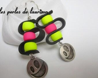 Neon swirl earrings