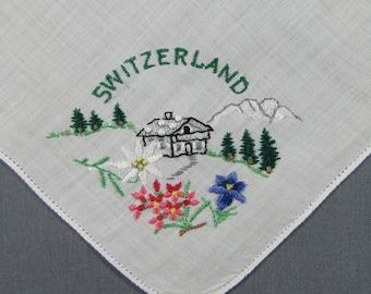 Switzerland Embroidered Chalet & Edelweiss Souvenir Vintage Handkerchief