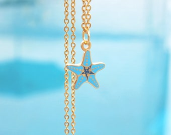 Mini Blue Starfish 24kt Gold Plated Necklace