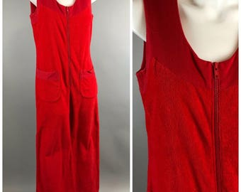 Vintage 70s Miss Shaheen Terry Cloth Wide Leg Jumpsuit Palazzo Red Zip Sleeveless