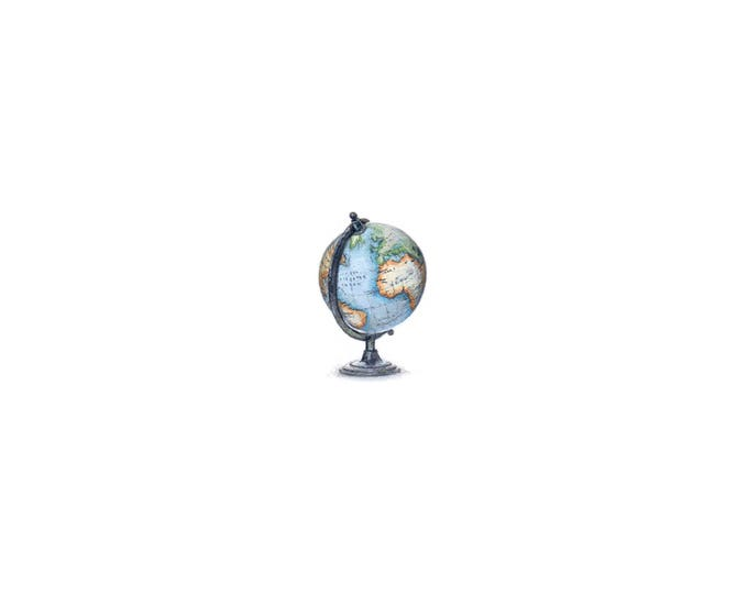 Print of Miniature painting of the earth, archival print of School Globe tiny painting, tiny art 5 x 5