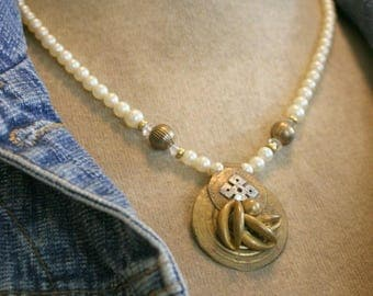 SUMMER SALE Pearls with Brass Assemblage Pendant Necklace