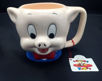 Vintage 1989 Looney Tunes Porky Pig Ceramic Coffee Mug by Applause for Warner Bros. with Original Tag