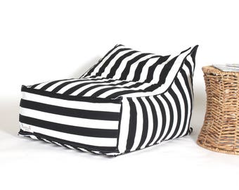 Outdoor Bean Bag, black and white stripes pouf chair, outdoor furniture, pouf cover for kids, kid's room, floor cushion, outdoor pouf, pouf