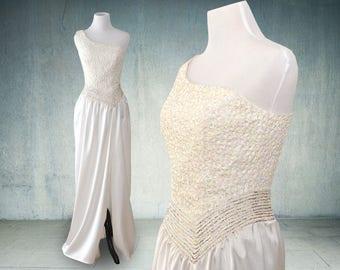 1980s Mike Benet Sequined White Formal Dress One Shoulder Prom Wedding Cotillion