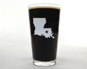 Louisiana Beer Glass - State Pint Glass - Pint Glass - Personalized Pint Glass - Etched Pint Glass - Groomsmen Pint Glass