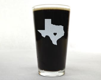 Texas Beer Glass - State Pint Glass - Pint Glass - Personalized Pint Glass - Etched Pint Glass - Groomsmen Pint Glass