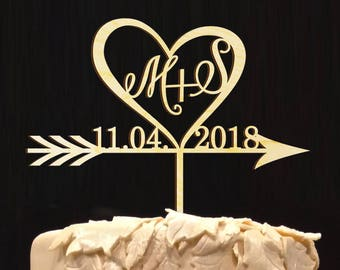 Wedding Cake Topper Groom & Bride Name Initials, Personalized Cake Decor, Great for Anniversary-Bridal Shower-Wedding-Valentine Day; Stylish