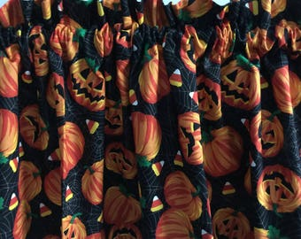 """Halloween Laughing Pumpkins and Candy Corn Valance 41"""" x 13 1/2"""""""