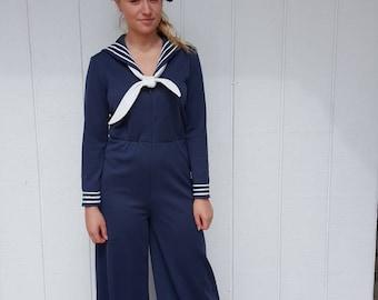 Caron sailor jumpsuit vintage 1970s for women. Nautical look