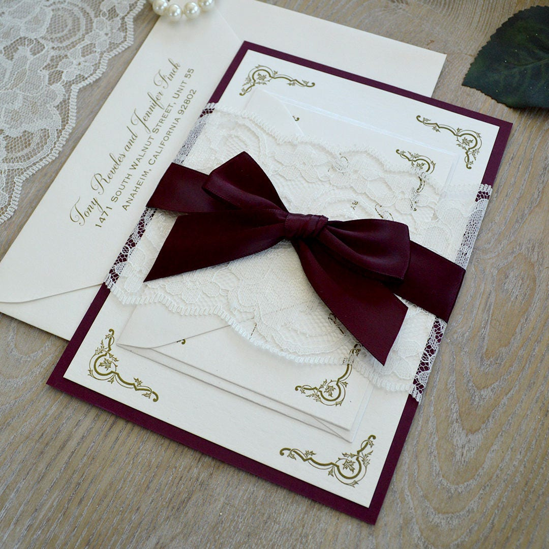 Wedding Invitations With Lace: Burgundy And Ivory Lace Wedding Invitation