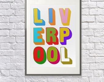 Liverpool Poster -  Liverpool Art  - Liverpool Print - Liverpool Visitor - Liverpool Gift - Liverpool Souvenir - Liverpool Memento - Tourist