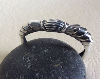 Armadillo tail cuff bracelet, sterling silver bracelet, silver cuff bracelet, cast sterling silver bracelet, cuff bracelet.