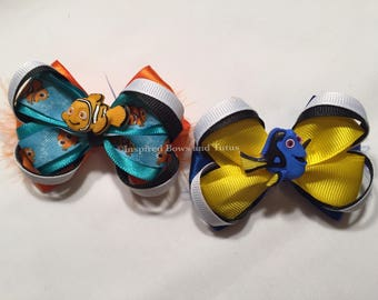 SET OF TWO Finding Nemo Mini Inspired Hairbows