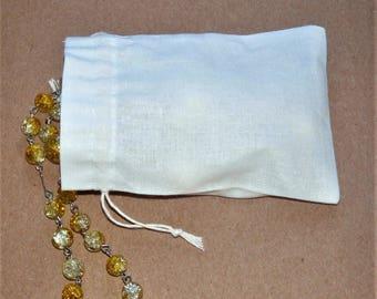 "Small Cotton Bags * White Canvas Pouch * Drawstring Cotton Bags * 10 pouches * 3.5""x4.7"" (9cm x 12cm)"