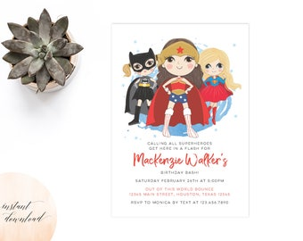 girl superhero invitation, birthday invitation, invitation, printable girl superhero party