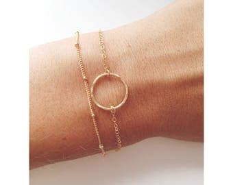 Eternty Ring Bracelet/ Two in One/ Satellite Chain/ 14k Gold filled/Sterling Silver
