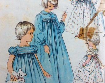 Simplicity 2784 vintage 1950's girls nightgown and robe sewing pattern size 4