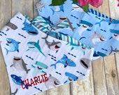 Personalized Shark Dog Bandana | Reversible Sharks Pet Bandana | Shark Week | The Best Custom Bandanas bu Three Spoiled Dogs
