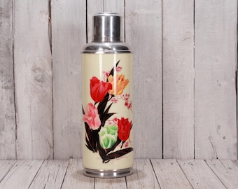 Vacuum thermos, Vintage thermos Shanghai, Vacuum bottle, Camping coffee flask 2 L, Chinese thermos flowers, Thermos with cup & cork stopper