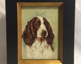 """Framed Art Oil Painting """"Spaniel Dog """""""