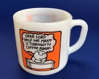 Vintage Federal Tom Wilson Ziggy 1962 Milk Glass Coffee Mug Cup