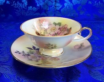 Schumann Auzberg Germany Bone China Tea Cup and Saucer Mint
