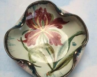 "5"" Vintage Mid Century Italy Signed Pottery Handpainted Trinket Bowl"