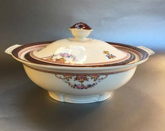 Antique Alfred Meakin England Bleu de Roi Covered China Casserole or Vegetable Dish