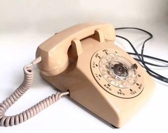 Vintage  Rotary Phone  Salmon Pink Northern Telecom Bell Phone