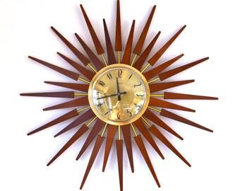60s amazing mid century Anstey & Wilson large starburst sunburst wall clock
