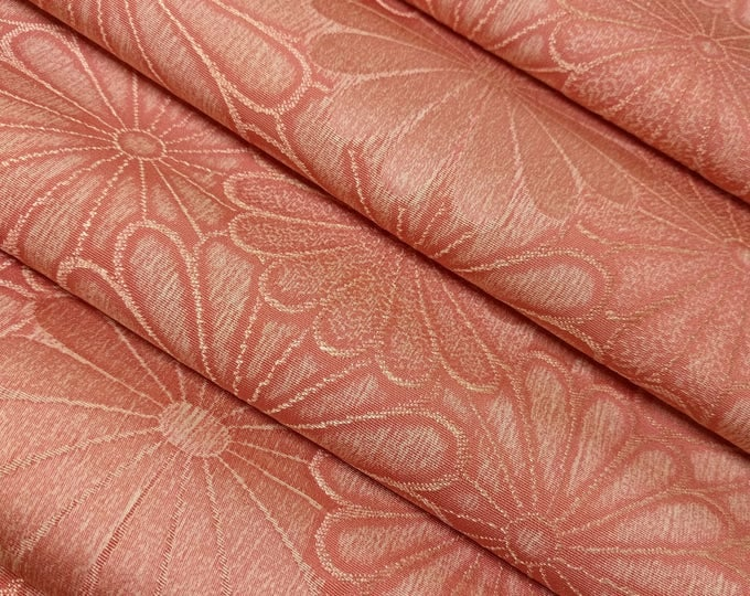 Featured listing image: Salmon-pink silk kimono fabric with woven mum pattern - by the yard