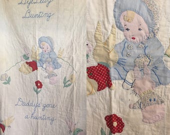 Darling vintage baby quilt with small child playing with bunnies handmade farmhouse baby showr gift keepsake