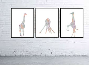 Giraffe Nursery decor Kids Pastel room Decor Giraffe wall art Animal Nursery prints