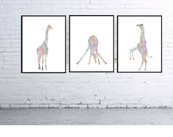 Giraffe Nursery decor Kids Pastel room Decor Giraffe wall art Animal Nursery prints