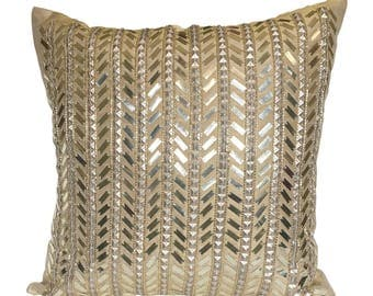 Gold Throw Pillow Cover , Gold Sequinned Pillow