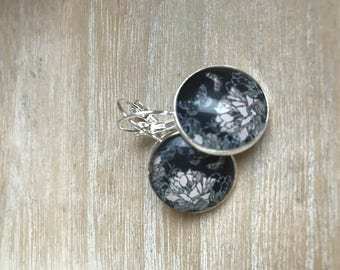 earring cabochon 18mm nature black leaves and flowers