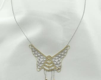 Darling Two-Tone Sterling Silver Beaded Butterfly Necklace 16 Inch   #BEADED-SPC5