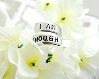 I AM ENOUGH Wrap Ring - Custom Ring - Adjustable Wrap Ring - Inspirational Jewelry - Quote Ring - Friend Gift - Spiral Ring - Gifts for Her
