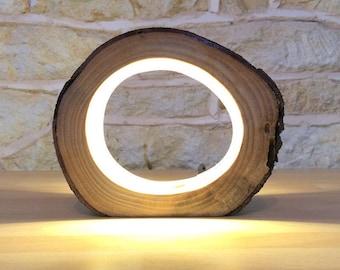 Lampe à poser en bois, lampe de bureau à poser, lampe bûche led, lampe bûche, lampe fait main, lampe rustique, lampe moderne